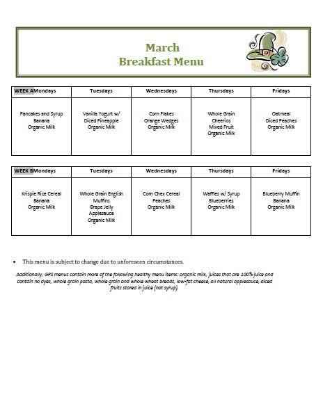 Golden Pond School Menus: October Breakfast Menu