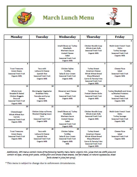 Golden Pond School Menus: October Lunch Menu
