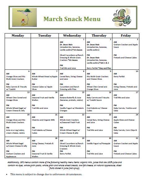Golden Pond School Menus: October Snack Menu